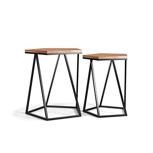 Set tavolini sovrapponibili di design in rovere naturale e ferro battuto in stile moderno contemporaneo