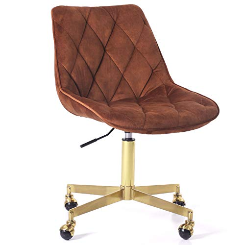 J&L Furniture Modern Velvet Armless Office Vanity Desk Task Chair with Wheels Rolling Swivel Accent Chair with Gold Metal Base Stool Chair for Women Grils Make up Study(Red Brown)