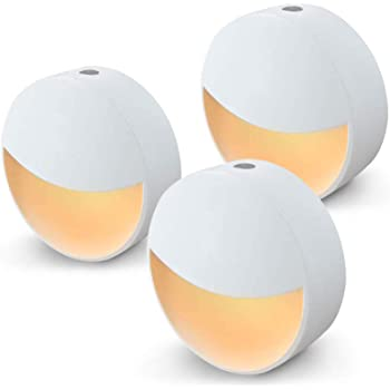 Homedulgence LED Plug-in Night Light | Automatic Light Sensor, Turns on Automatically in The Evening | Stylish Design and Warm Light for Bedroom, Bathroom, Kitchen | Simply Plug in (3 Pack)