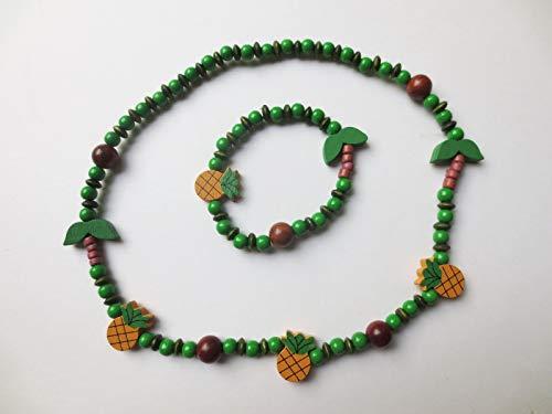 Schmuckset für Kinder, Holzperlen, Ananas, Palmen, Kokosnuss, grün, elastisch, Armband, Kette, Mädchen, Geschenkidee, Aloha, Wunschname