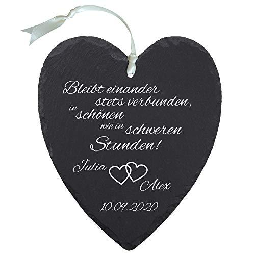 Schieferherz zur Hochzeit Herzen personalisiert - originelle Geschenke zur Hochzeit - personalisierte Hochzeitsgeschenke für Brautpaare - Geschenk zum Hochzeitstag