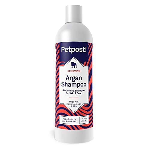 Petpost | arganshampoo voor honden - Geneest op natuurlijke wijze, beschermt en verjongt de droge huid en vacht van honden - arganolie- en aloëformule (474 ml)