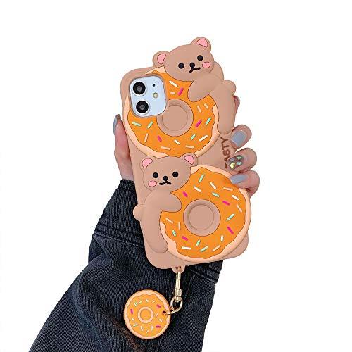 USLOGAN Schutzhülle für iPhone 12 (2020, 13,7 cm) (3D-Cartoon-Design, weiches Silikon, Kawaii-Design, mit Donut und Bär mit Anhänger)