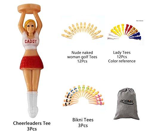 POSMA GTS001 Multi-Serie T-Shirt-Set, 3-teiliges Cheerleader-Tee, 12-teilige nackte Frauen-Golftees, 12 Damen-T-Shirts + 3 Bikini-T-Shirts + 1 Flanell-Aufbewahrungstasche