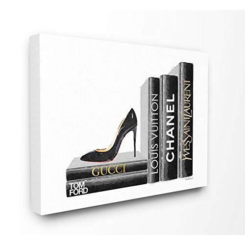 Stupell Industries High Fashion Black Book Shelf with Stilettos Heel Canvas Wall Art, 16 x 20, Design by Artist Amanda Greenwood