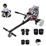 Camelmother Hoverboard Seat Attachment Transform Your Hoverboard into Go Kart for Kids or Adults,Adjustable Hoverboard Accessories for Self Balancing Scooter (Black with Helmet Protective Gear)