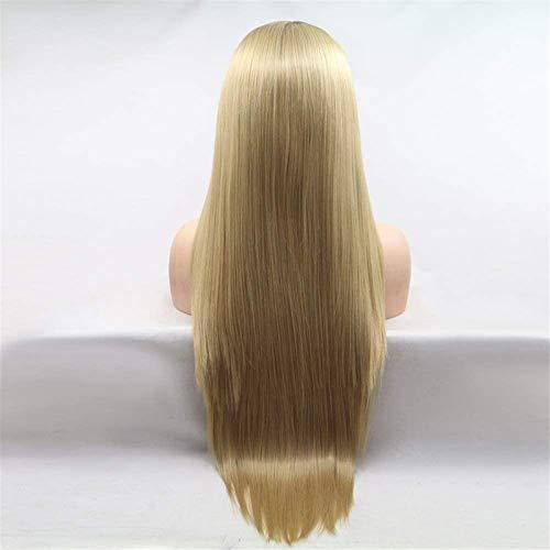 PIAOLIGN Pelucas Pelucas Wig Ladies Conjuntos Hechos a Mano Conjuntos Europeos y Pelucas Conjuntos de Pelo de Peluca - Amarillo - Pelo Largo Largo