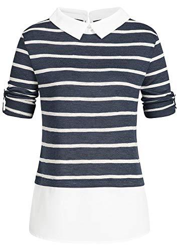 Hailys Damen Turn-Up Blusen Shirt Longsleeve 2in1 Optik Streifen Muster Navy blau Weiss, Gr:XS