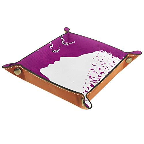 YATELI Petite boîte de Rangement, Plateau de Valet pour Homme,8 Mars Journée Internationale de la Femme,Organisateur de fourre-Tout en Cuir pour Bijoux à clés
