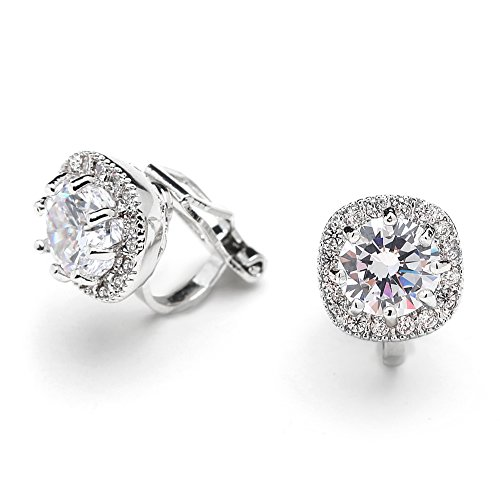Mariell Cubic Zirconia CZ Clip On Stud Earrings,10mm Cushion Shape Pave Halo Non Pierced Round Solitaire