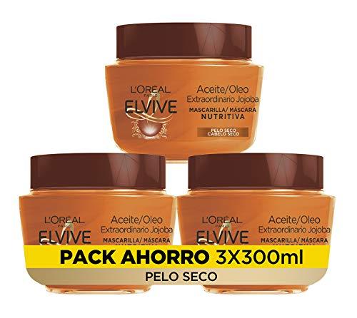L\'Oreal Paris Elvive Aceite Extraordinario Mascarilla Nutritiva - pack de 3 unidades x 300 ml - total: 900 ml