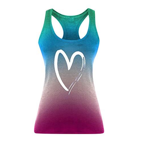 Mlide Womens Summer Sleeveless Tops Workout Running Backless Tank Top Casual Loose Gradient Print Shirt Blouse Light Blue