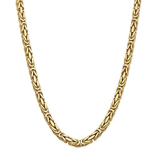 Königskette aus massivem 14-karätigem Gelbgold, 6,5 mm, für Herren und Damen, 61 cm