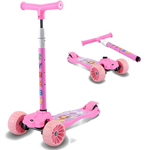 JiaQi Kick Scooter for Kids,Scooter for Kids Ages 2-12,Extra-Wide Deck with Adjustable Height Pu Flashing Wheels Lean to Steer-O