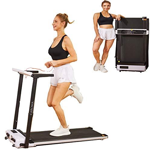 Caroma Laufband Elektrisch 2,5 PS, 8 km/h Laufband für Zuhause Klappbar mit LED-Anzeige und 12 voreingestellten Trainingsprogrammen, Kompaktes Tragbares Laufband für Familie Büro, bis 90kg