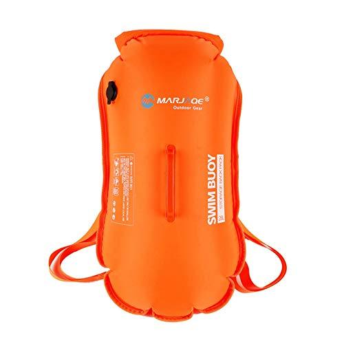 Ardorman Boya de natación de 28L/35L | Bolsa seca impermeable | Flotador de seguridad para rafting Natación Camping | Doble Airbag Mochila Flotador de Natación | Naranja Fluorescente