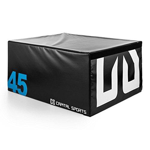 Capital Sports Rookso Soft Jump Box Plyo - Tappetino Imbottito in Gomma Piuma, 90x45x75 cm, Copertura Esterna in Vinile, Impilabile con Altre Jump Box, Nero