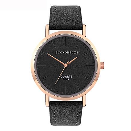 jieGorge ✔ Modische Damen-Armbanduhr mit Lederband, analog, rund, Quarz, kompakte Uhr für Sie jetzt kaufen (schwarz)