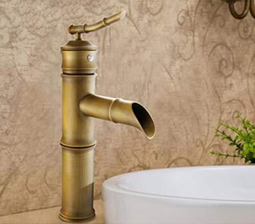 Contemporánea Concisa del baño en bronce caliente y fría de bambú cuenca del grifo del fregadero sola manija grifo de agua, E