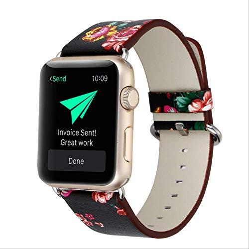 POKQHG Lederen Horloge Band Voor Apple Horloge 38Mm 42Mm Serie 1 Serie 2 Serie 3 Bloem Riem Bloemenprints Polshorloge Armband I212.