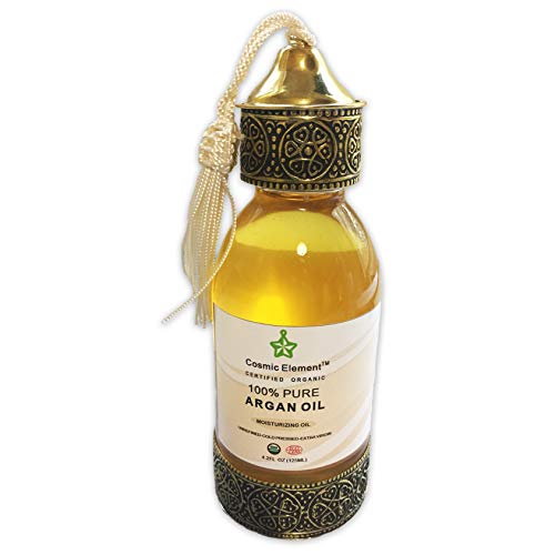 Cosmic Element USDA Organic Moroccan Argan Oil 100% Pure & Unrefined, Virgin & Cold Pressed Oil For Face, Hair, Skin & Nails, 4.2 Fl Oz, Anti Aging, Anti Wrinkle, EcoCert Certified Moisturizer