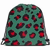 Smalaty imitación Piel de Leopardo patrón blackbeauty Moda Mochila Especial Bolsa de Saco Bolsa de Gimnasia para Hombres y Mujeres 17x14 Pulgadas
