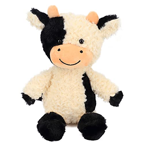 Cuteoy Plush Dairy Cow Toy Floppy Cattle Stuffed Animal Soft Cute Farm Birthday for Boys Girls Kids Toddlers White and Black 9-Inch
