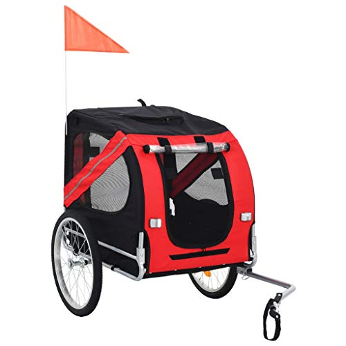 vidaXL Hundefahrradanhänger Fahrradanhänger Hundeanhänger Hundetransporter Haustieranhänger Hunde Fahrrad Anhänger Rot Schwarz Regenschutz