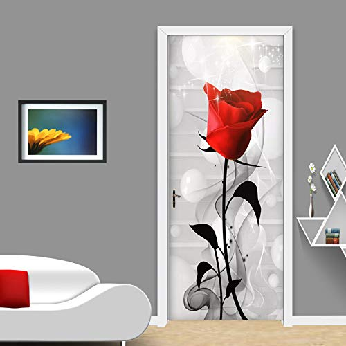 OIODI® 3D Türaufkleber türtapete wandbild selbstklebend pvc Einfache Pflanze rote Rosenblume schwarzes Blatt geometrische weiße Kugel 77x200cm Art decals Kreative Poster Tapete Türfolie Wasserdicht A