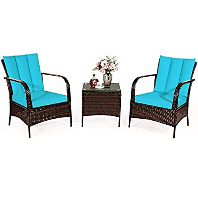 Tangkula 3 Piece Patio Furniture Set, 2 Wicker Chairs with Glass Top Coffee Table, Outdoor Garden Porch Poolside Furniture Set for 2, Rattan Conversation Set (Turquoise)