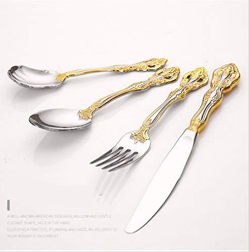 yywl - Juego de Cubiertos para Carne (Cuchillo, Tenedor y Cuchara de Acero Inoxidable), Color Dorado