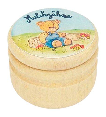 Milchzahndose, Zahndose Milchzähne Bilderdose aus Holz mit Drehverschluss für Jungen und Mädchen mit Drehverschluss 44 mm (BLAUER BÄR) -Made in EU-5505b