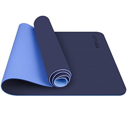 TOPLUS Gymnastikmatte, Yogamatte Yogamatte Gepolstert & rutschfest für Fitness Pilates & Gymnastik mit Tragegurt (Blau)