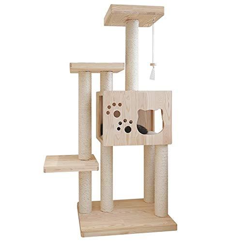 Liergou Kratzbaum Cat Hauskatze Kratzt Die Möbelplatte Aktivitäten Verkratzen Baumklettern Barsch Plattform Kätzchen Mit Haustieren Spielen (Color : Natural, Size : As pictiure)