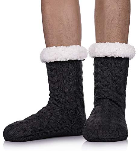 SDBING Mens Super Soft Warm Cozy Fuzzy Fleece-lined Winter With Grips Slipper Socks (Black)