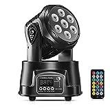 UKing Cabeza Movil LED,Luz de Fiesta 7x10 Vatios RGBW LED con Los Modos de Control Coche/Control Remoto/ DMX512 para DJ Disco Bar Salón de baile Halloween Navidad (con control remoto)
