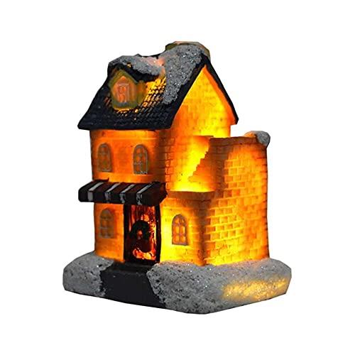 YuKeShop Snow Village Resina Navidad Escena Casas Luz LED Miniatura Edificio Colección Pueblo Regalo Decoración Navidad Ornamento