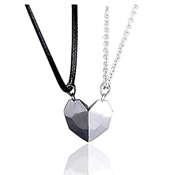 LEGENSTAR Two Souls One Heart Pendant Necklaces for Couple,Wishing Stone Creative Magnet Couples Necklace  Black+White