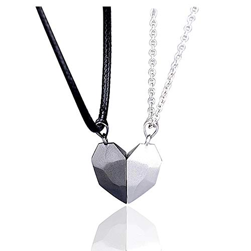 LEGENSTAR Two Souls One Heart Pendant Necklaces for Couple,Wishing Stone Creative Magnet Couples Necklace (Black+White)