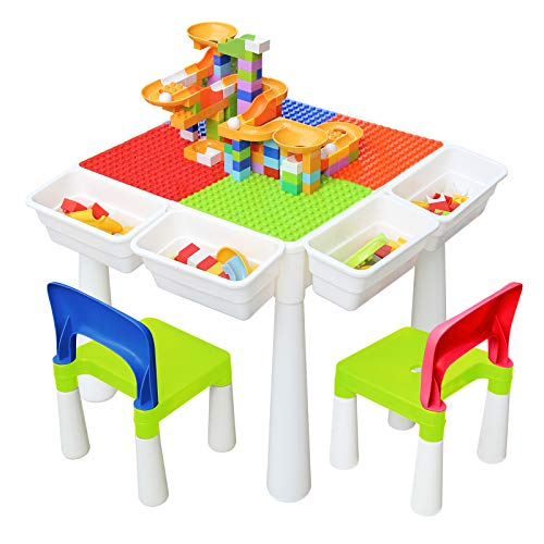 Kids 7-in-1 Multi Activity Build Table and 2 Chair Set 120 Pieces Large Building Blocks Water Table Building Block Table Play Arts Crafts Table with Storage Space for Kids Toddler (Classic, 20 inch)