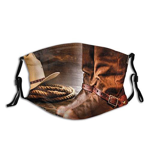 ZOMOY Gesichtsbedeckung,Klassische Cowboystiefel Traditionelle Ranching Sporen Hut und Seil auf antikem Boden,Sturmhaube Wiederverwendbar Winddicht Staubschutz Mund Bandanas Outdoor Mit 2 Filtern