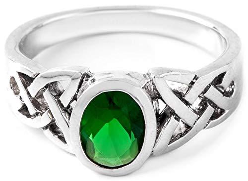 WINDALF Celtic Ring NALIA 7 mm Grüner Smaragd Vertrauensring 925 Sterlingsilber (Silber, 54 (17.2))