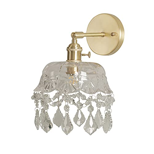 JUBANGLIAN Todo Cobre Lámpara de Pared Pantalla de Cristal Transparente Hecha a Mano Aplique Pared Latón Cepillado de Montaje Empotrado Aplique de Pared para Dormitorio
