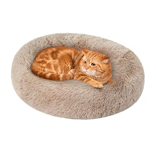 Love's cabin 20in Cat Beds for Indoor Cats - Cat Bed with Machine Washable, Waterproof Bottom - Taupe Fluffy Dog and Cat Calming Cushion Bed for...