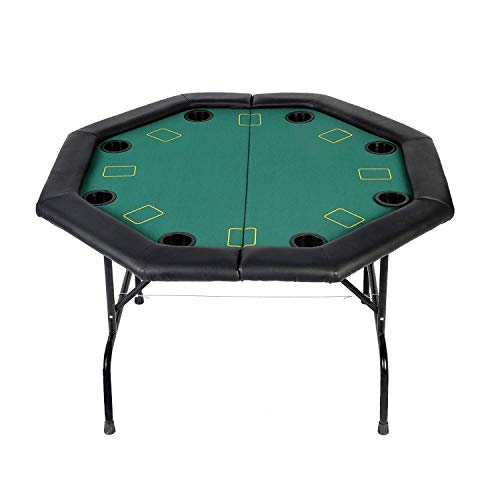 Livebest 48' Octagon Folding Poker Table with Leg 8/10 Player & Poker Chips Set-Cup Holders Inserts-for Luxury Texas Card Game Blackjack,Green Speed Felt Cloth (4 Fold - 8 Player)