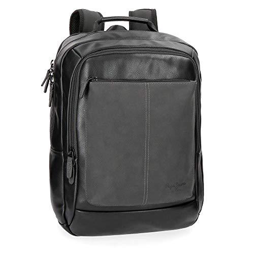 """Pepe Jeans Cranford Mochila Doble Compartimento Adaptable para Portátil 15,6"""" Negro 31x47x11 cms Piel Sintética 16.03L"""