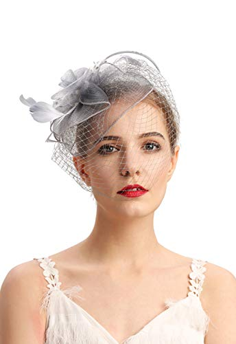 Fascinators Hats 20s 50s Hat Pillbox Hat Cocktail Tea Party Headwear with Veil for Girls and Women(D-grey)