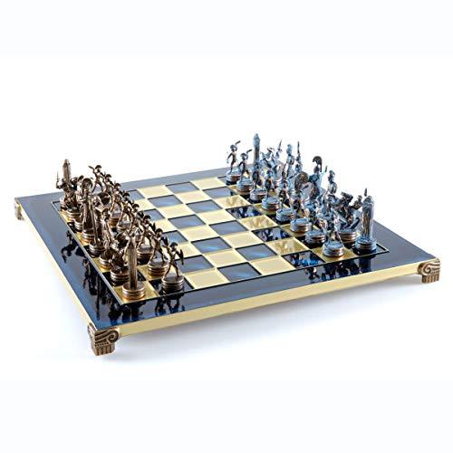 Greek Mythology Chess Set - Blue&Copper - with Blue Board