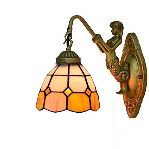 Lámparas de Pared para Interiores,Lámpara de Pared con Aplique de Vidrio Manchado de 15 Cm,Lámpara de Noche para Dormitorio Mediterráneo,Luz de Noche con Decoración de Cristal para Sala de Estar,E