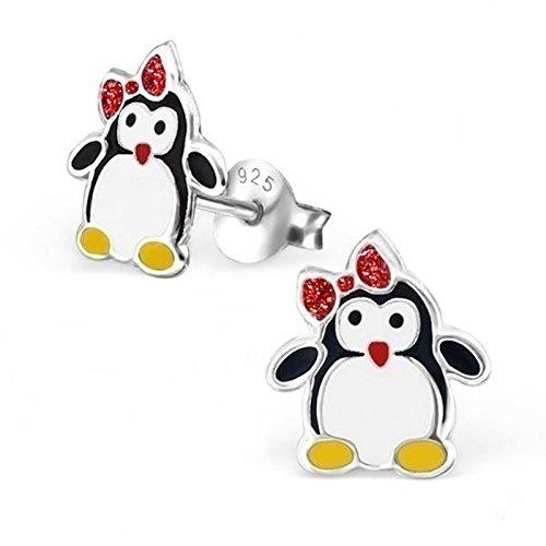GH1a Glitzer Pinguin Ohrstecker 925 Echt Silber Ohrringe Mädchen Kinder Geschenkidee Emaille